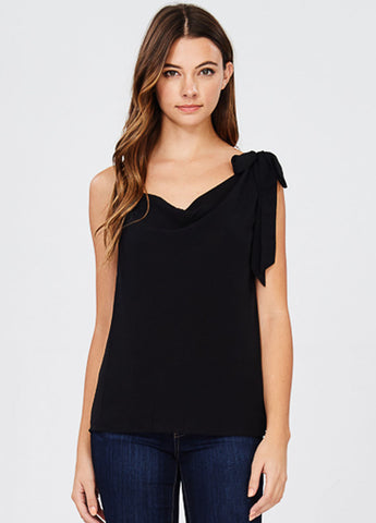 One Shoulder Drape Front Top in Black