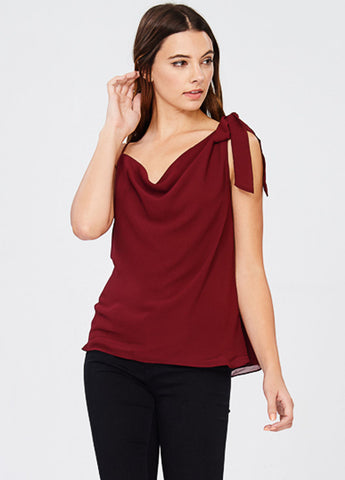 One Shoulder Drape Front Top in Burgundy