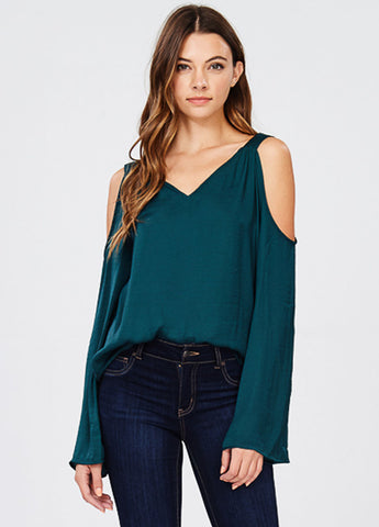 Satin Cold Shoulder Top in Deep Forest