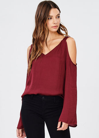 Satin Cold Shoulder Top in Burgundy