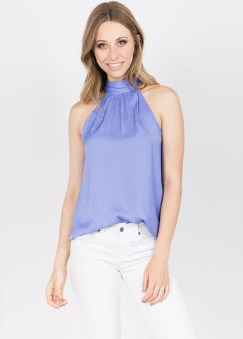 Mock Neck Satin Tie Top in Lavender