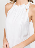 Neck Tie Layered Top in White