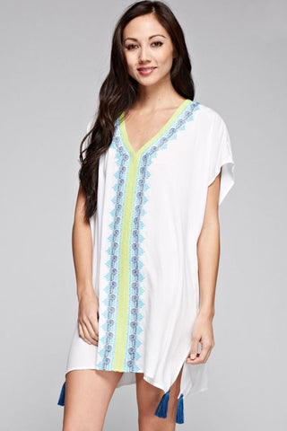 White V-Neck Embroidered Dress