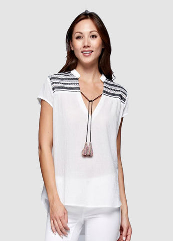 Embroidered Shoulder Top with Tassel