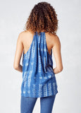 Printed Button Front Tassel Tank