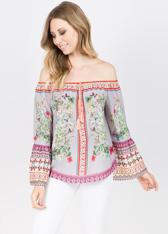 Floral Off-the-Shoulder Bell Sleeve Top in Grey