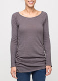 Boatneck Slub Tunic Tee in Charcoal