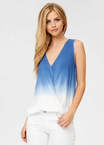 Sleeveless Ombre Crossover Top