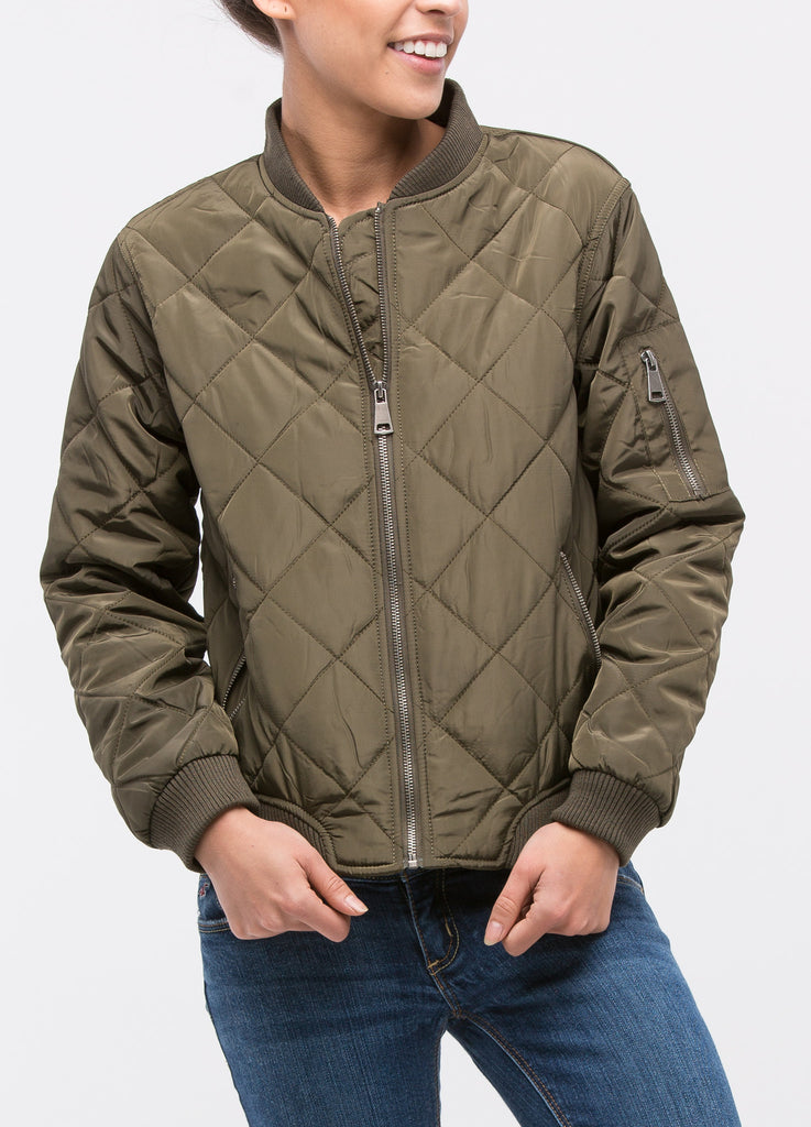 Quilted Puffer Bomber in Olive