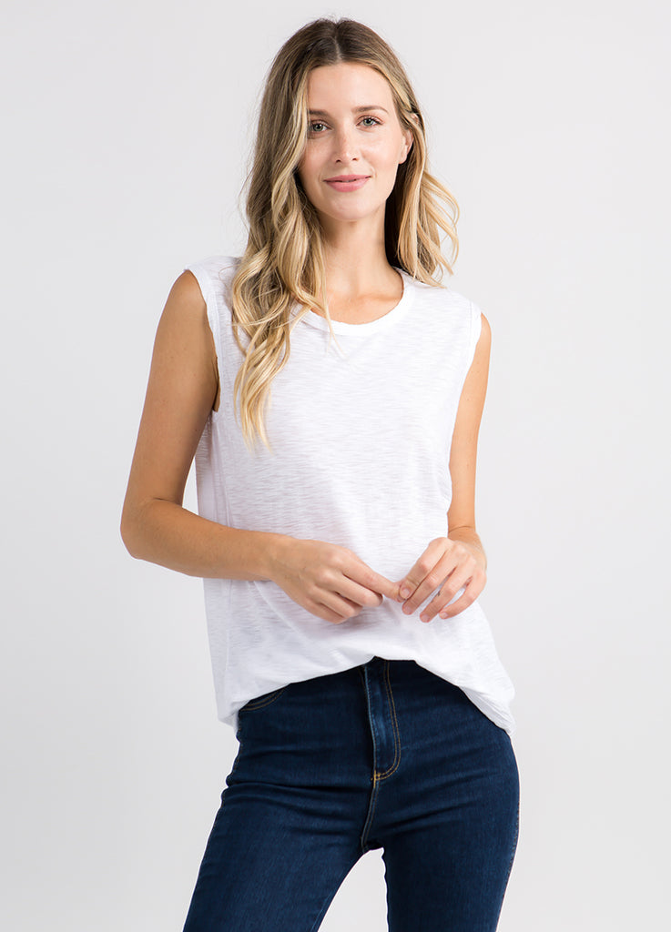 Malibu Sleeveless Muscle Tee in White