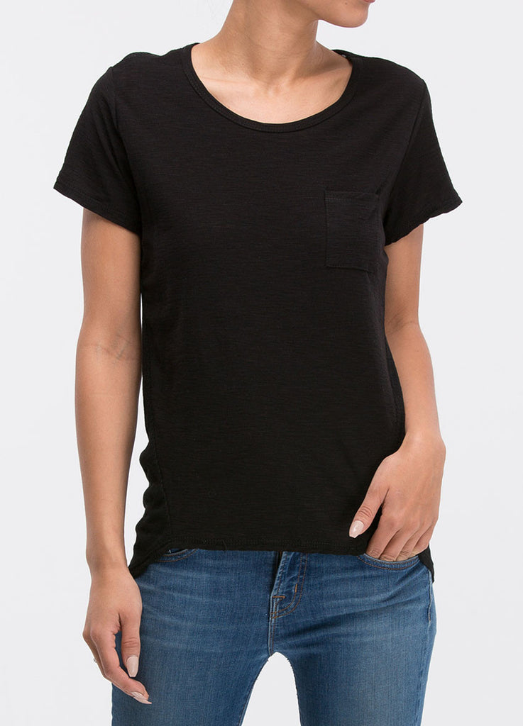 Washed Knit Mix Hi-Lo Jersey Short Sleeve Top in Black