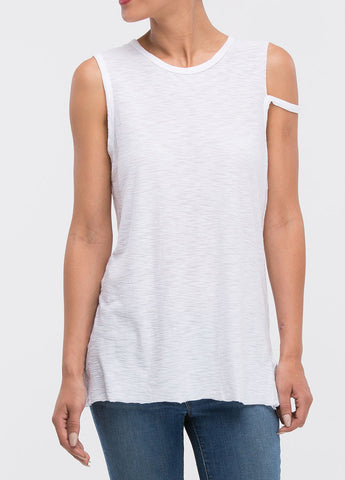 White Distressed Muscle Tee