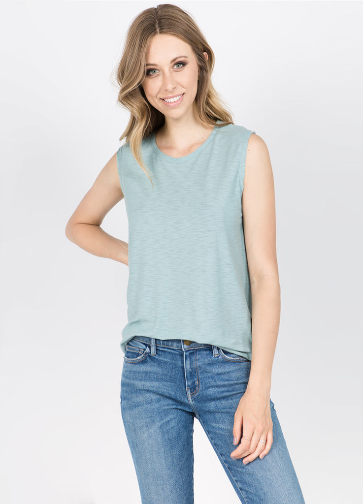 Malibu Sleeveless Muscle Tee in Seafoam