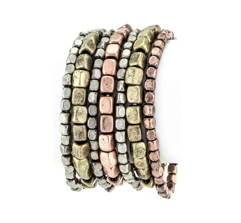 7 Layer Beaded Mixed Metal Stretch Bracelet