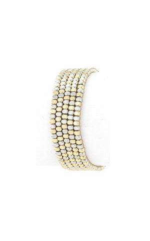 Matte Silver and Gold Beaded Metal 5 Layer Stretch Bracelet