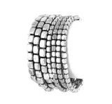 7 Layer Beaded Metal Stretch Bracelet in Silver Oxidize