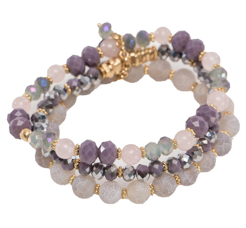 Lavender Faceted Bead Trio