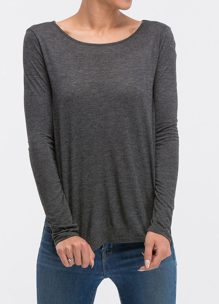Long Sleeve Side Slit Tee in Charcoal