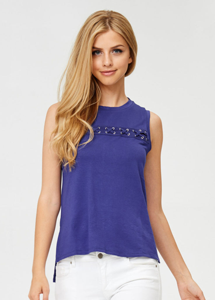 Sleeveless Lace-Up Top in Violet
