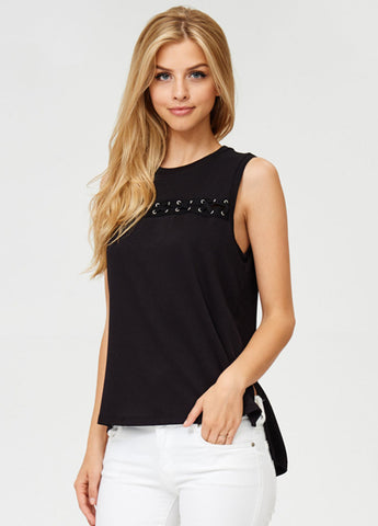 Sleeveless Lace-Up Top in Black