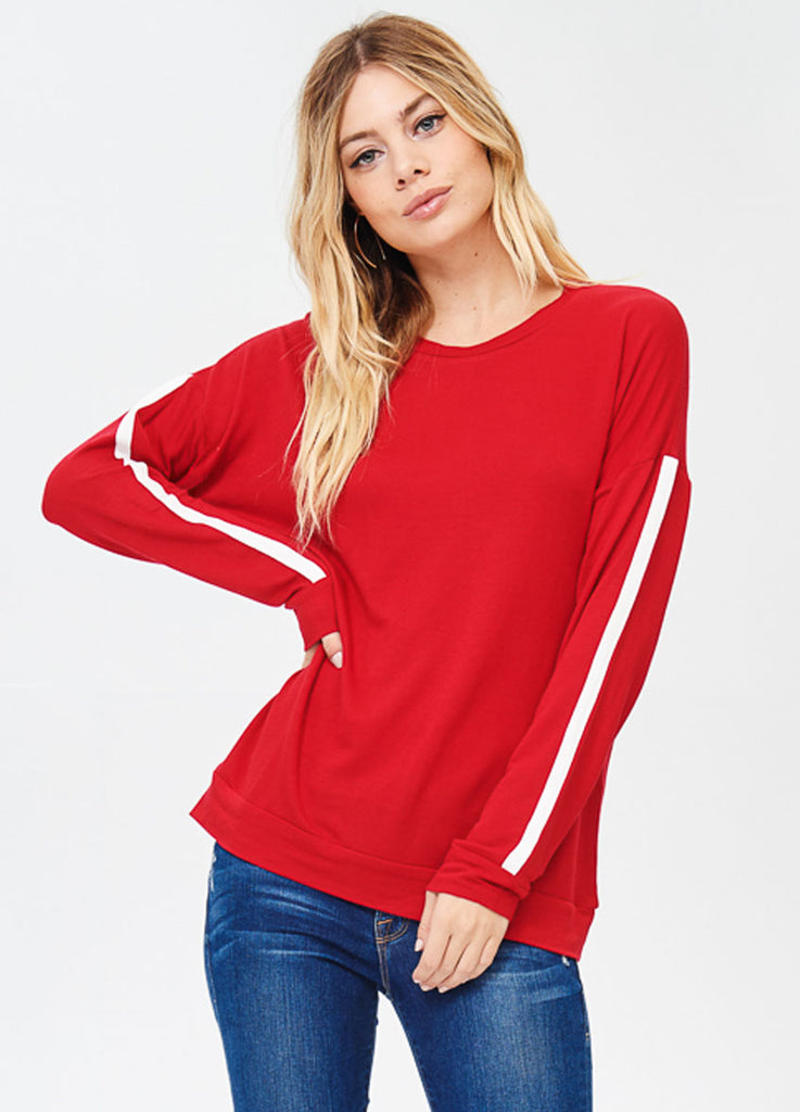 Long Sleeve Crewneck Tee with Contrast Sleeve in Red