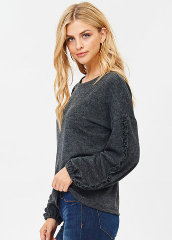 Lightweight Crewneck Sweatshirt with Mini Ruffled Trim