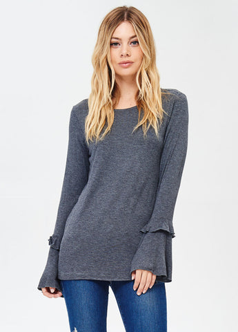 Long Sleeve Bell Sleeve Tee with Ruffle Detail in Charcoal
