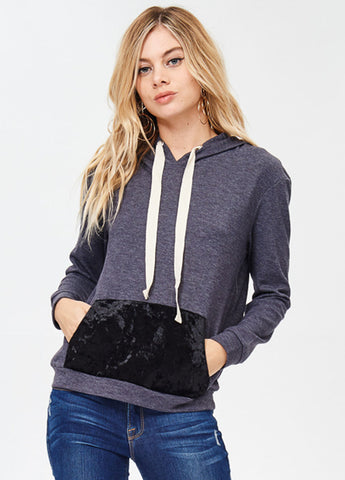 Hoodie with Crushed Velvet Front Pouch