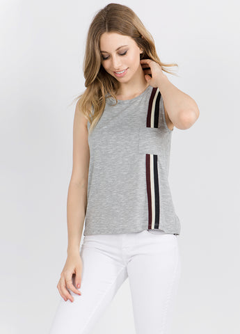 Sleeveless Top with Racer Stripe in Grey
