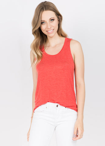 Round Neck Tank in Tangerine