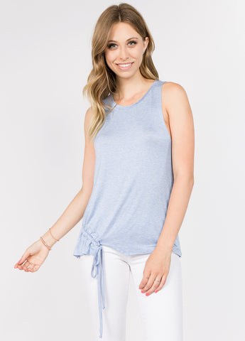 Sleeveless Muscle Tee with Rouching Detail in Pale Iris