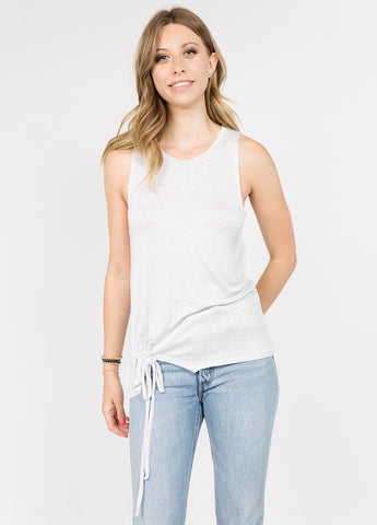 Sleeveless Muscle Tee with Rouching Detail in Heather Grey