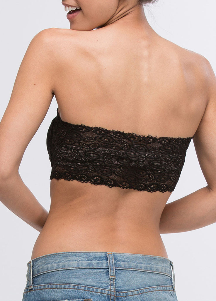 Lace Back Bandeau in Black