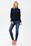 Velour Hoodie with Lace-Up Sleeves in Navy