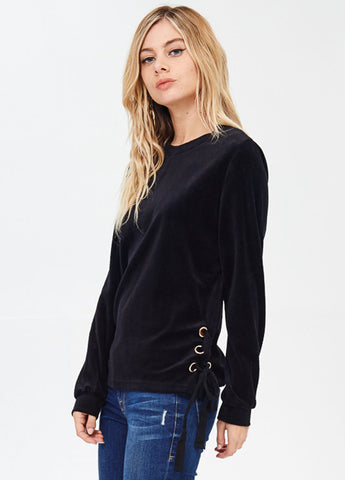 Velour Pullover with Side Lace-Up in Black