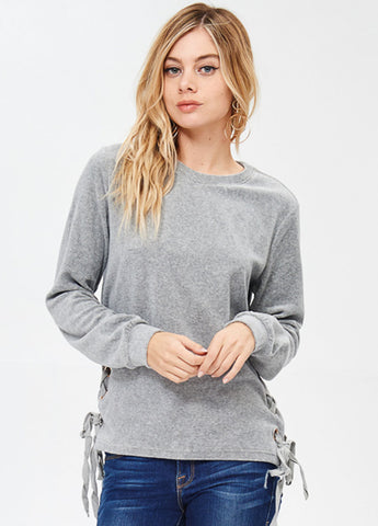 Velour Pullover with Side Lace-up in Heather Grey