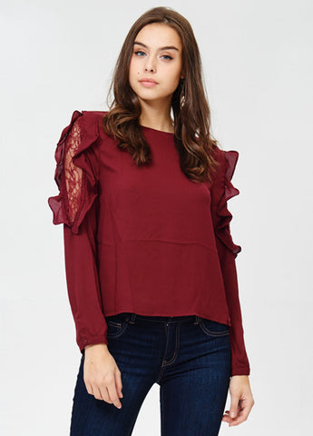 Ruffle and Lace Top in Burgundy
