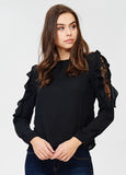 Ruffle and Lace Top in Black