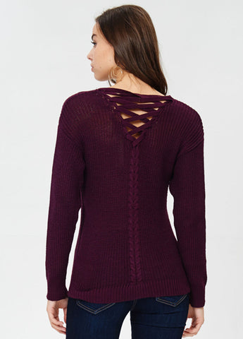 Lace-up Back Knit Sweater in Plum