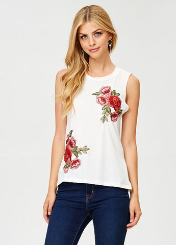 Sleeveless Rose Patch Tee in White
