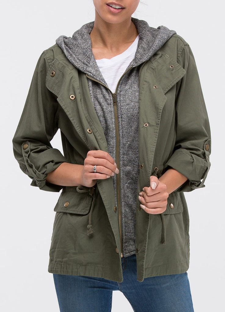 Utility Jacket with Zip Front Hoodie