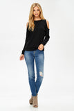 Distressed Cold Shoulder Sweatshirt in Black
