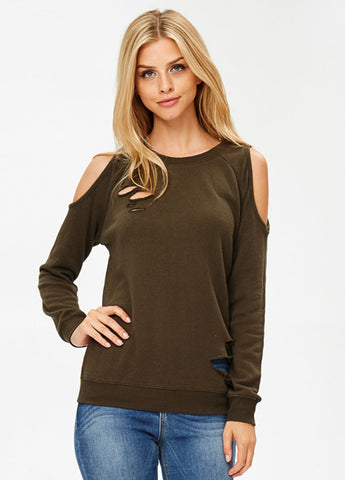 Distressed Cold Shoulder Sweatshirt in Olive