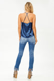 V Neck Satin Cami in Jewel Blue