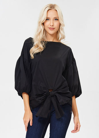 3/4 Sleeve Front Tie Top in Black