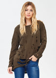Oversized Distressed Sweatshirt in Olive