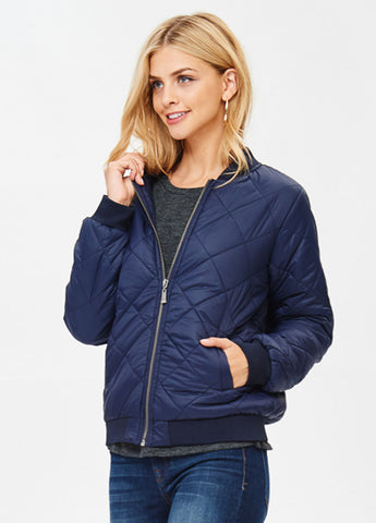 Quilted Padded Bomber in Navy