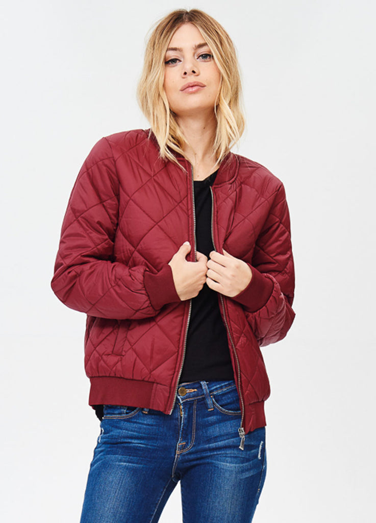 Quilted Padded Bomber in Burgundy