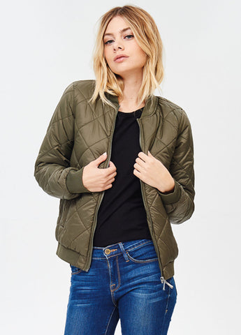 Quilted Padded Bomber in Olive