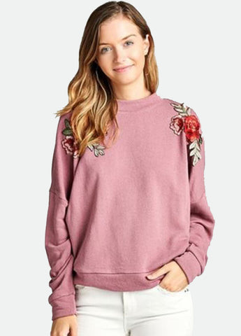 Flower Patch Sweatshirt in Pink